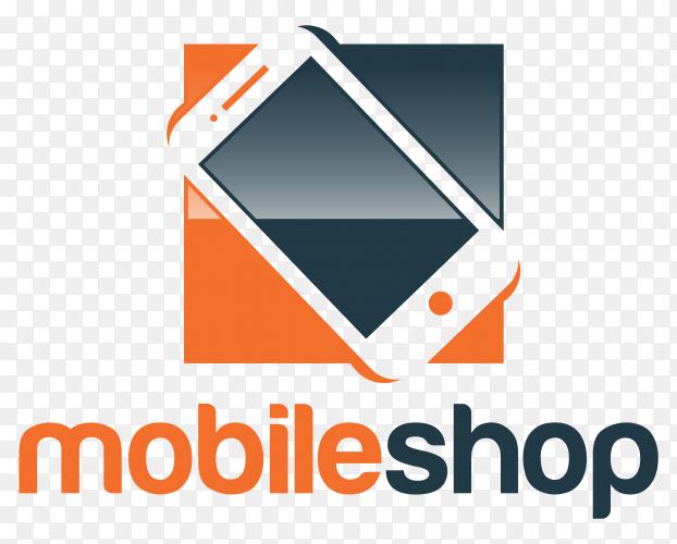 Mobile shop logo design on transparent background PNG