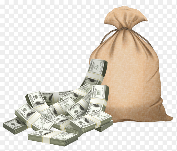 Money bag on transparent background PNG