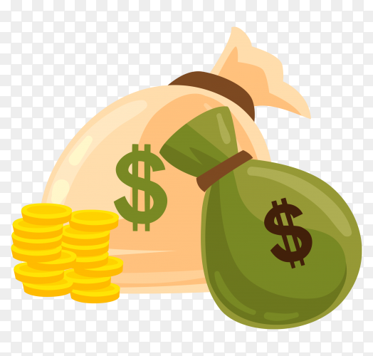Money bags with coins on transparent background PNG