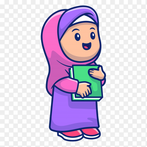 Muslim girl holding book on transparent background PNG