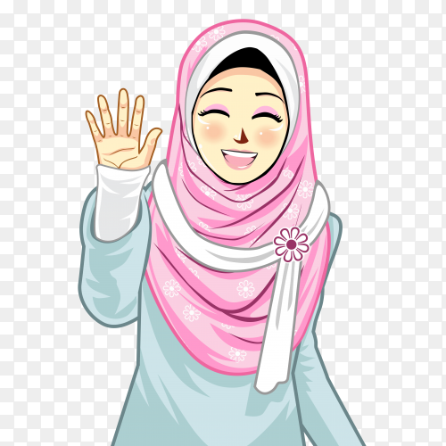 Muslim girl with hijab and raising his hand on transparent background PNG