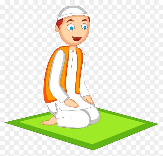 Muslim man praying to god on transparent background PNG