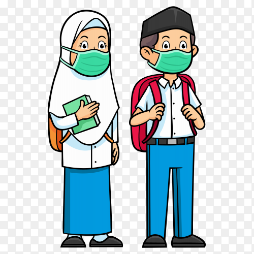 Muslim woman and man wearing face medical mask on transparent background PNG
