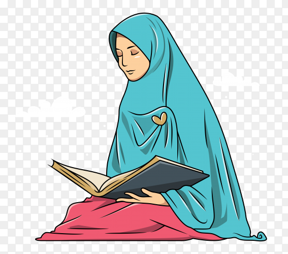 Muslim woman is reading quran on transparent background PNG