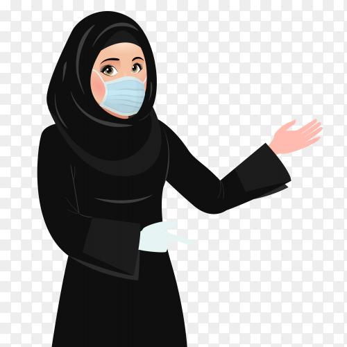Muslim woman wearing face medical mask premium vector PNG
