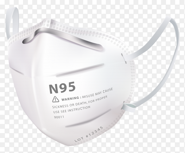 N95 surgical mask with layers on transparent background PNG