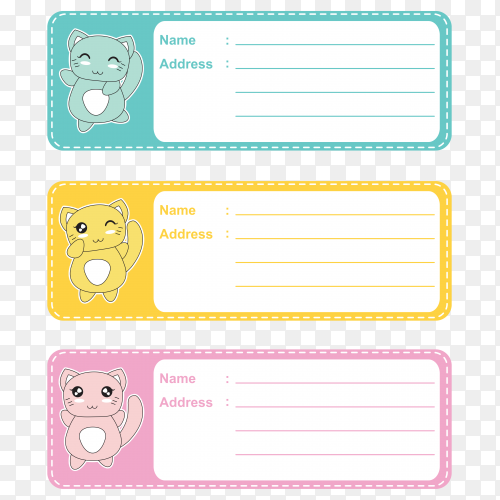 Name tags for school children on transparent background PNG