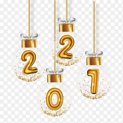 New 2021 year with realistic christmas balls on transparent background PNG