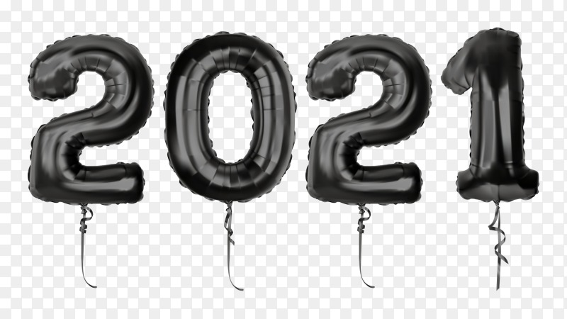 New 21021 year with black color design on transparent background PNG
