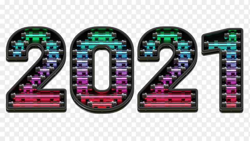 New year 2021 isolated on transparent PNG