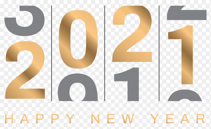 New year concept 2020 change to 2021 design on transparent background PNG