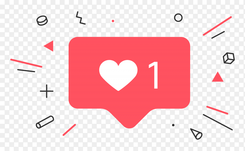 Notifications icon like, speech bubble. like icon with heart on transparent PNG