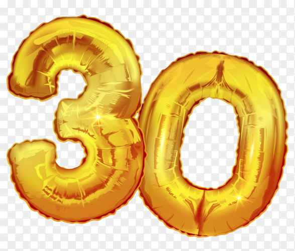 Number 30 thirty made of golden inflatable balloons isolated on transparent background PNG