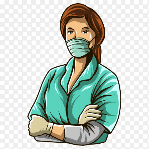 Nurse illustration isolated on transparent background PNG