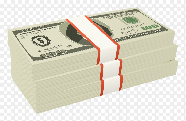 One hundred dollars banknotes on transparent background PNG