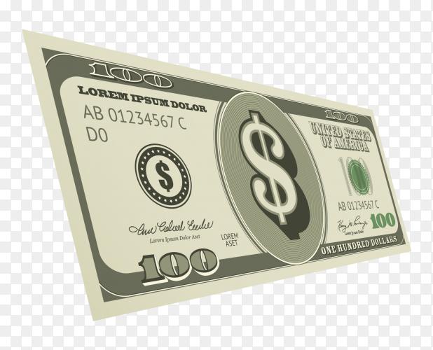 One hundred dollars bill premium vector PNG
