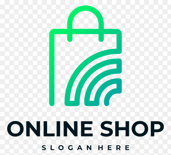 Online Shop logo isolated on transparent PNG