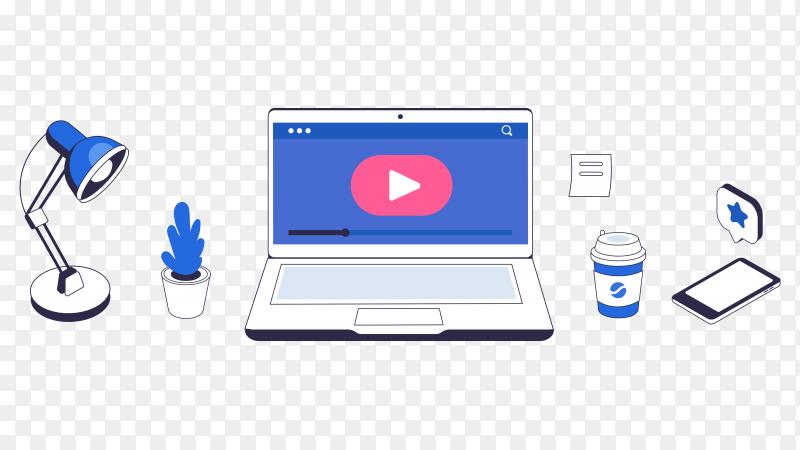 Online courses concept illustration on transparent background PNG