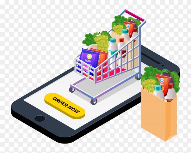 Online food order from app by smartphone Illustration on transparent background PNG
