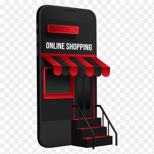 Online shopping design on transparent background PNG
