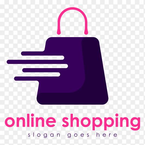 Online shopping logo template on transparent background PNG
