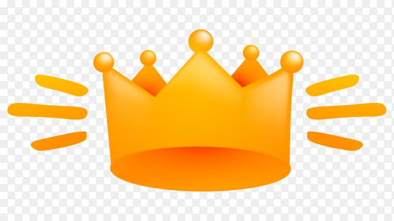 Orange cartoon crown illustration on transparent background PNG