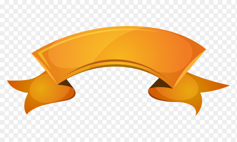 Orange ribbon and banner on transparent background PNG