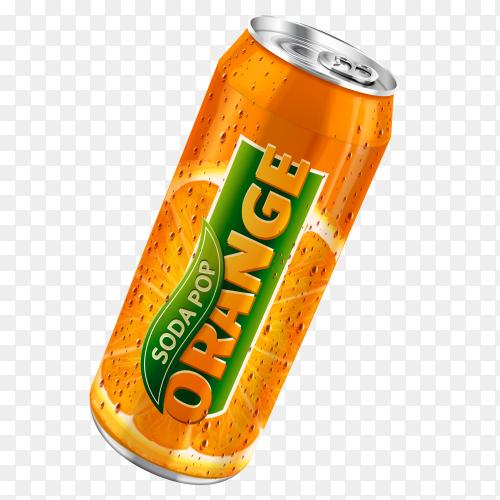 Orange soda can on transparent background PNG