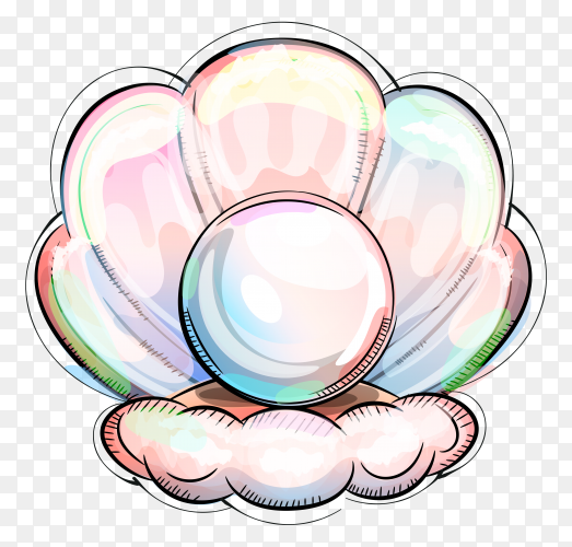 Pearl hand drawn oyster ocean floor on transparent PNG