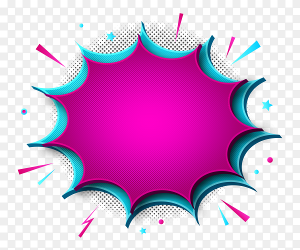 Pink Empty boom comic text speech bubble on transparent PNG