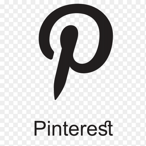Pinterest icon design with black color premium vector PNG