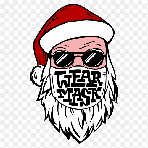 Postcard with hand drawn santa in medical mask on transparent PNG