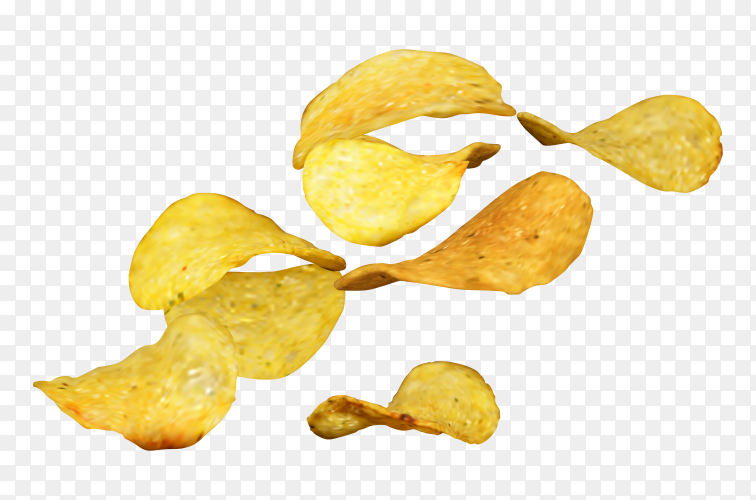 Potato chips falling on transparent background PNG
