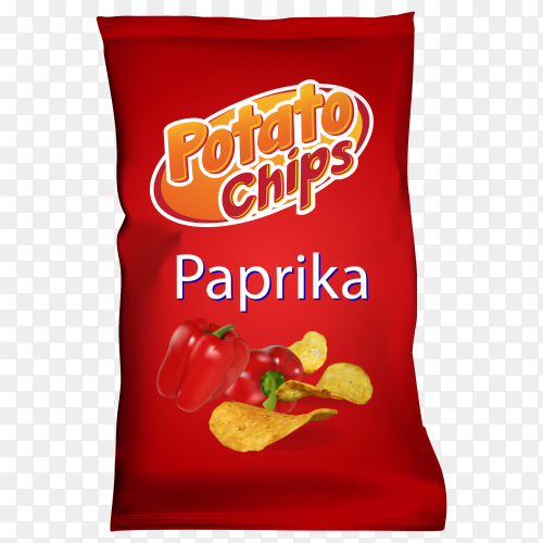 Potato chips with paprika flavor on transparent background PNG