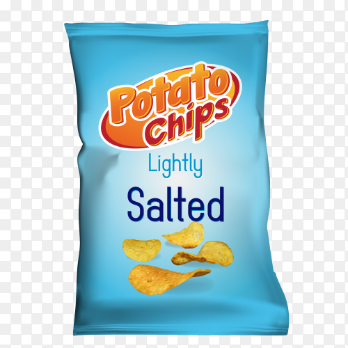 Potato chips with salted flavor on transparent background PNG