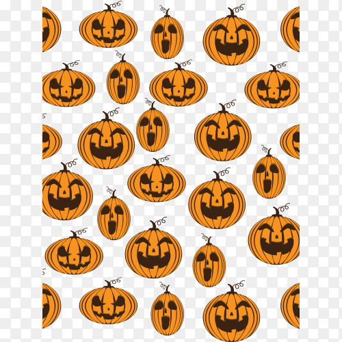 Pumpkins smile pattern seamless on transparent background PNG