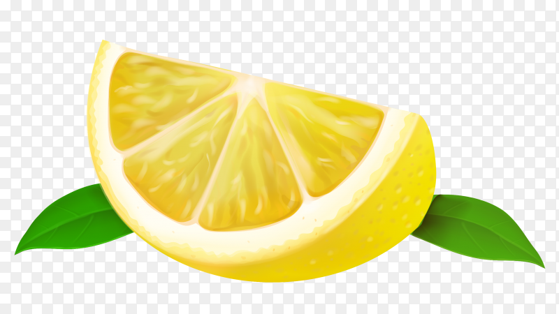Quarter lemon isolated on transparent background PNG
