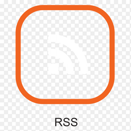 RSS icon in flat design on transparent background PNG