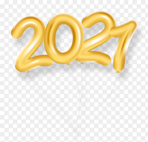 Realistic Golden new year 2021 on transparent background PNG