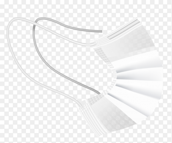 Realistic White medical mask on transparent background PNG