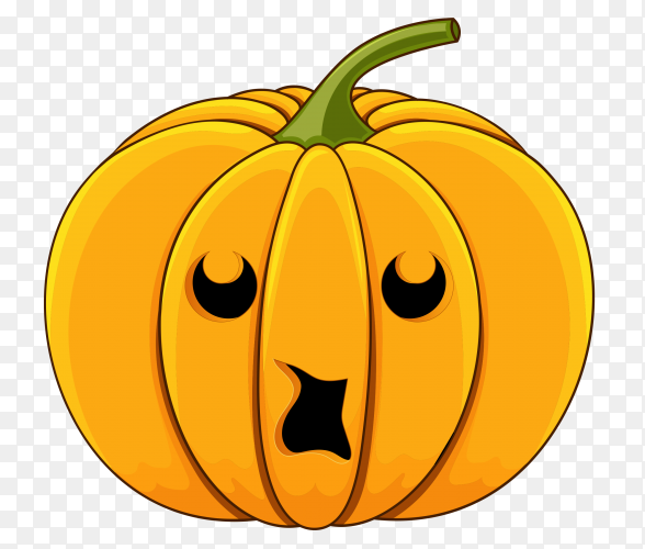 Realistic design halloween pumpkin on transparent PNG