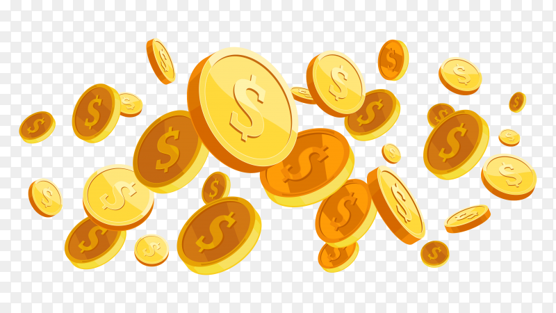 Realistic gold coins explosion on transparent background PNG