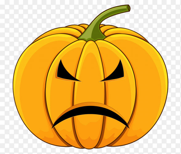 Realistic halloween Sad pumpkin on transparent background PNG