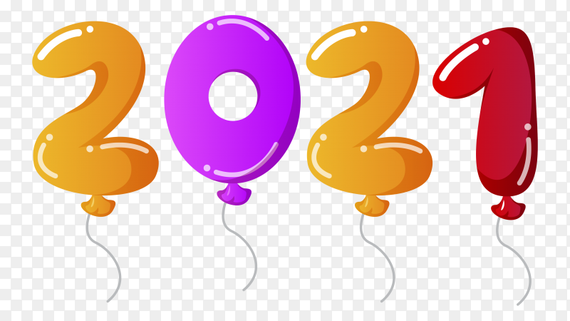Realistic happy new year 2021 on transparent background PNG