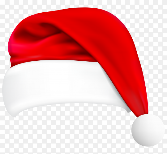 Realistic santa claus hat illustration on transparent background PNG