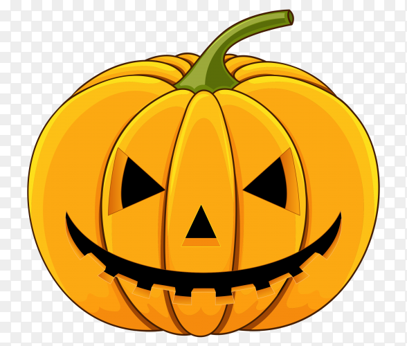 Realistic style halloween pumpkin on transparent PNG