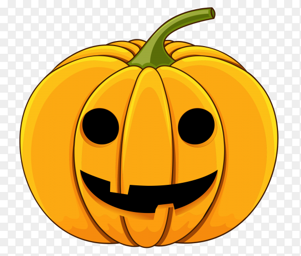 Realistic style halloween smile pumpkin on transparent background PNG