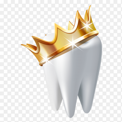 Realistic white tooth in golden crown isolated on transparent background PNG