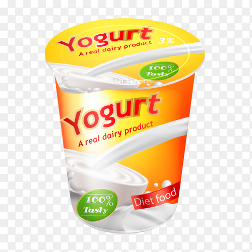 Realistic yogurt advertisemen on transparent background PNG