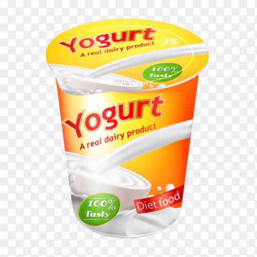Realistic yogurt advertisemen on transparent background PNG
